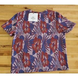 Zara Tropical Hibiscus stripe top